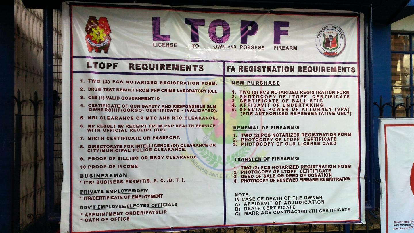 License to Own and Possess Firearm (LTOPF) Requirements Process ...